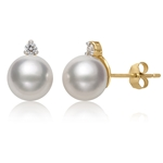8.0 - 8.5 mm White Freshwater Pearl & Diamond Stud Earrings